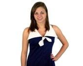 Long sailor dress, 70s maxi dress, nautical maxi dress, navy blue white, removable bow, Size M