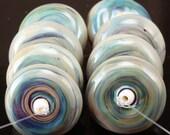 Handmade Lampwork Disc Bead Set - Blueberries and Cream