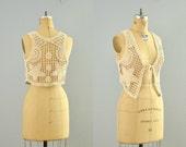 vintage crochet vest / stars and moon / open weave vet