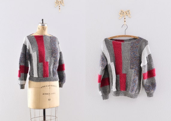 vintage sweater / angora sweater / cozy sweater