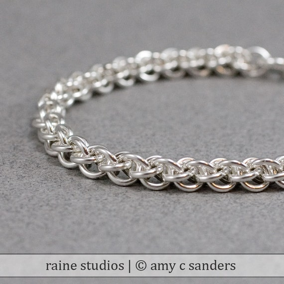 Out of Town 5/25-30/17:Spiral Chain Link Bracelet - 16g Jens Pind sterling silver chain maille bracelet