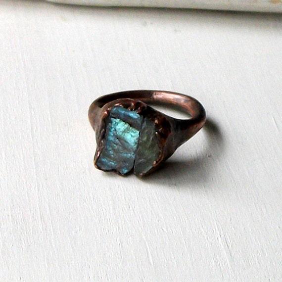 Copper Ring Labradorite Gem Stone Natural Raw Patina Handmade For Her Artisan