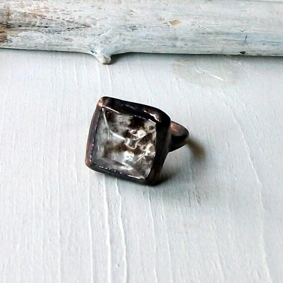 Copper Ring Phantom Quartz Crystal Facet Pyramid Rough Natural Artisan Handmade