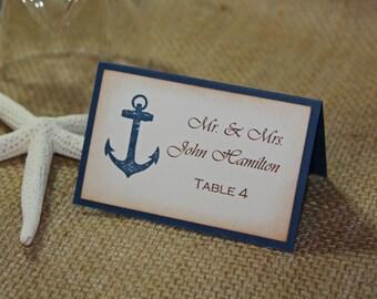 50 Anchor Nautical Wedding Escort Cards, Nautical Wedding or Shower Place Cards - Printed