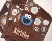 Personalize Cookie Monster Modern Print Patchwork Baby Blanket Etsykids Team - sewlittleones