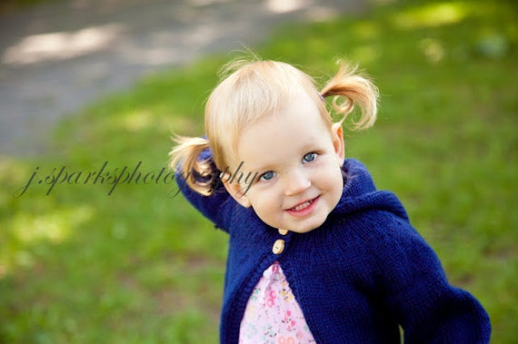 Hoodie Cardigan Sweater Child Baby 100% Wool Knitted Size 6 month - 3 years Royal Blue, Navy, Pink