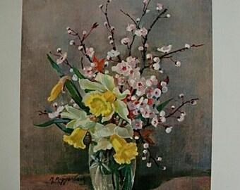 Vintage M Riggerbach Floral Still Life Print