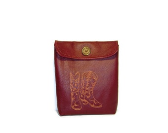 Con-Goer Dark Red Leather and Silk Pouch - Embroidered Cowboy Boots - Steampunk/Western/Convention
