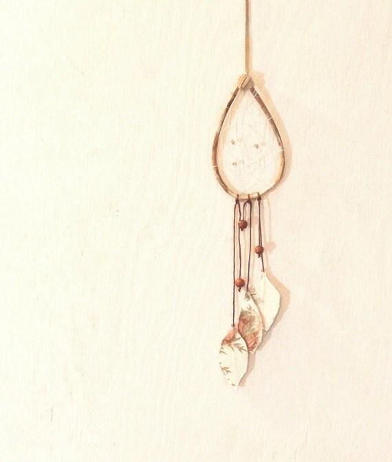 Handmade Dreamcatcher OOAK - Woodland Floral - Beaded Fabric Tribal Feathers Teardrop Suede