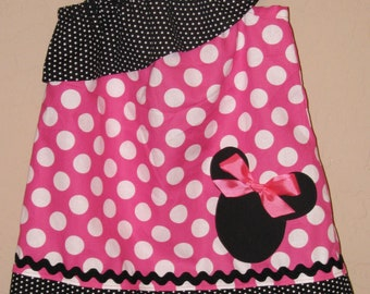 Disney Minnie Mouse Inspired Baby Toddler Dress - Ruffled One Shoulder Dress -Pink Black Polka Dots -Great for Disney Trips Birthdays