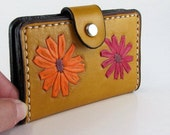 Leather Card Wallet Yellow with Flowers