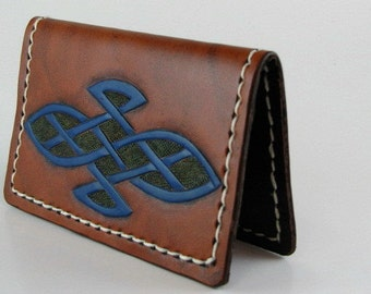 Leather Card Wallet Celtic Knot Business Card Wallet I D Card Wallet Hand Carved Leather Hand Tooled Leather Pocket Wallet Blue Celtic Knot