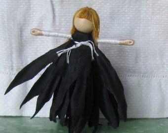 Halloween witch,  Black and white - vampire doll, Black Daisy Flower Fairy - Waldorf Flower Fairy
