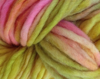 Bulky / Chunky Weight Hand Painted Wool Yarn Pencil Roving in Mango Tango 60 yards Yellow Pink Green