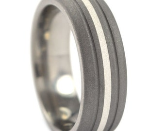 New 7 mm Titanium Ring with Sterling Silver Inlay and Sandblast Finish Made in the USA