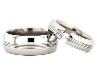 New Matching Titanium Wedding His and Her's Ring Set: 8HRCPP.5HRCPP-TENS-GEM
