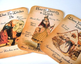 Halloween Tags - Vintage Look - Set Of 6 - What Witches Do - Victorian Style - Holiday Tags - Witch Tags - Thank Yous - Vintage Halloween