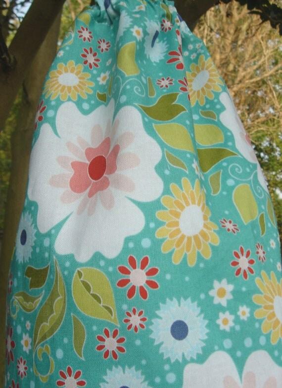 Plastic Grocery Bag Holder Teal Modern Floral
