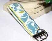 Lime Green & Teal Damask Wristlet/ Key Fob/ Keychain
