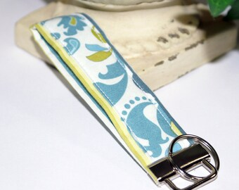 Lime Green & Teal Damask Wristlet/ Key Fob/ Keychain