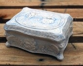 Vintage Blue and White Handmade French Baroque Style Ornate Ceramic Trinket Box