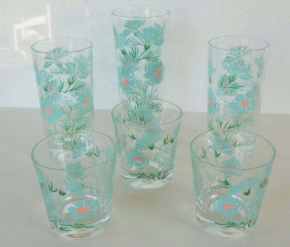 Vintage Turquoise and Pink Floral Glassware, Set of Six