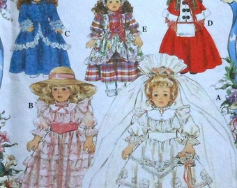 """16"""" and 18"""" Doll Clothes Sewing Pattern UNCUT Simplcity 8766 Wedding Gown Colonial Victorian Caroler Southern Belle Dress Coat"""