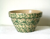"vintage pottery / stoneware MIXING BOWL 8"" / green spongeware CHRISTMAS roseville"