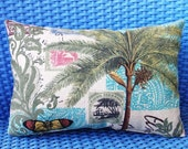 Decorator pillow, Palm tree, Butterfly, Stamp Motif, Linen weave Cotton