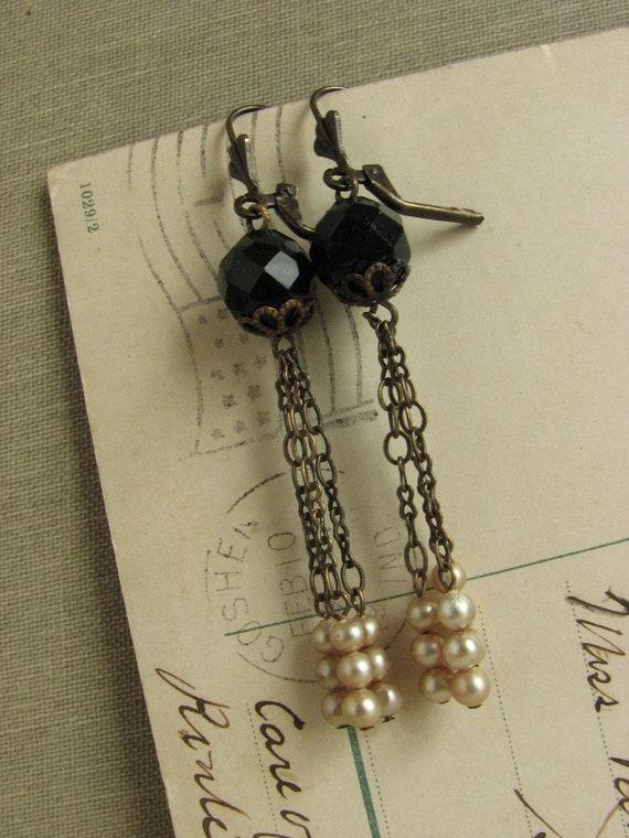 Black and White Flapper Inspired Earrings -long shabby chic elegant repurposed vintage-