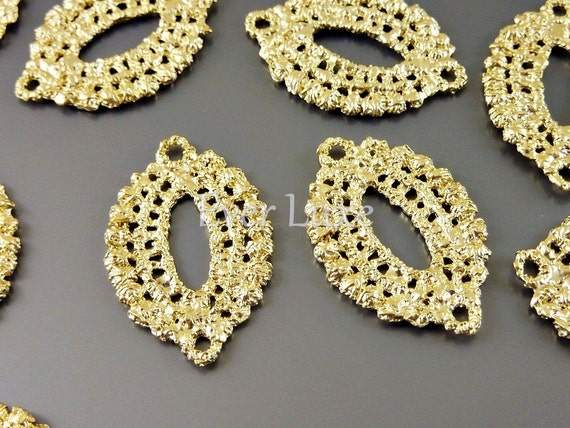 1588-MG (4 pcs) Matte gold plated Crochet inspired marquise shape connectors