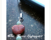 Adorable Aventurine and Rhodonite Cell Phone Charm