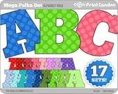Mega Polka Dots Alphabet - Digital Clip Art Personal and Commercial Use - paper crafts card making scrapbooking