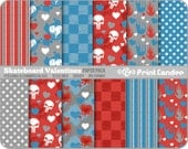 Skateboard Valentines Paper Pack (12 Sheets) - Personal and Commercial Use -  valentines day for boys red blue grunge