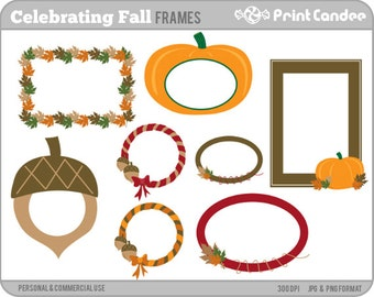 Celebrating Fall Frames - Personal and Commercial Use - digital clipart frames autumn acorn leaf leaves