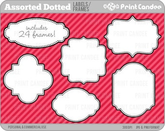 Assorted Dotted Labels (24 Pack) -  Personal and Commercial Use - digital clipart frames clip art