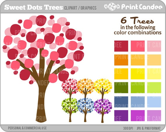 Sweet Dots Trees - Digital Clip Art - Personal and Commercial Use- modern chic tree nursery wall