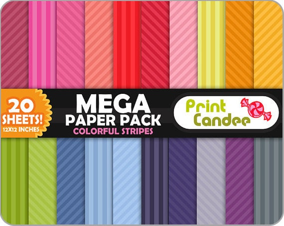 Mega Paper Pack (20 Sheets) - Colorful Stripes - Personal and Commercial Use