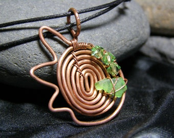 RECYCLED COPPER SEAGLASS with swarovski crystals focal bead pendant