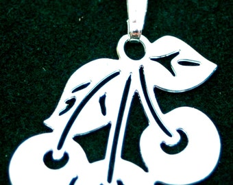 SILVER plated, CHERRY CLUSTER pendant with chain,  designed by Donna