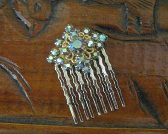 Vintage Upcycled Something Blue AB Rhinestones wedding,bride,hair comb