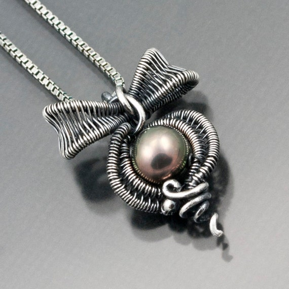 RESERVED - Little Bow Pendant , Fine Silver Bow, Freshwater Peacock Pearl Necklace