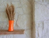 Orange Vase / Glass and stone Handpainted Vase by Kristin - Carriage Oak Cottage / made to order