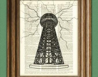 Nikola Tesla Coil lightning art dictionary page illustration book print
