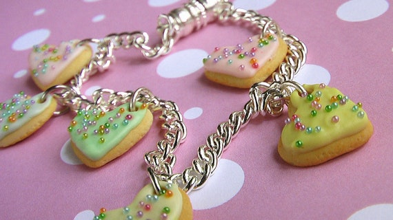 Charm Bracelet with Magnetic Clasp - Heartthrob Butter Cookies (Pastel Rainbow Palette)
