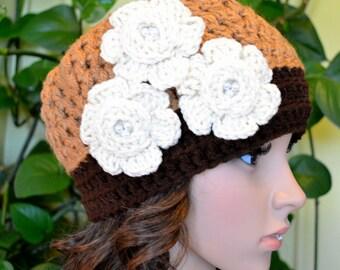 Sale Crochet Women,Teen Sweet Flowers Hat In Warm Brow,Dk. Brown ( New 16 )