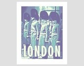 london england queen guards buckingham palace purple green yellow retro photo-graphic art print