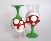 Piranha Plant Wine Glasses - Two Hand Painted Mario Inspired Wine Glass