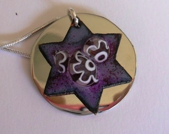Enameled Star of David from Israel - Passionate Purple with Alpaca