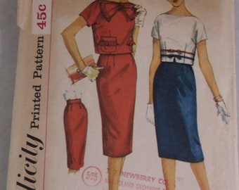 Vintage Simplicity Pattern 3112 Teen Size 12 Skirt and Top